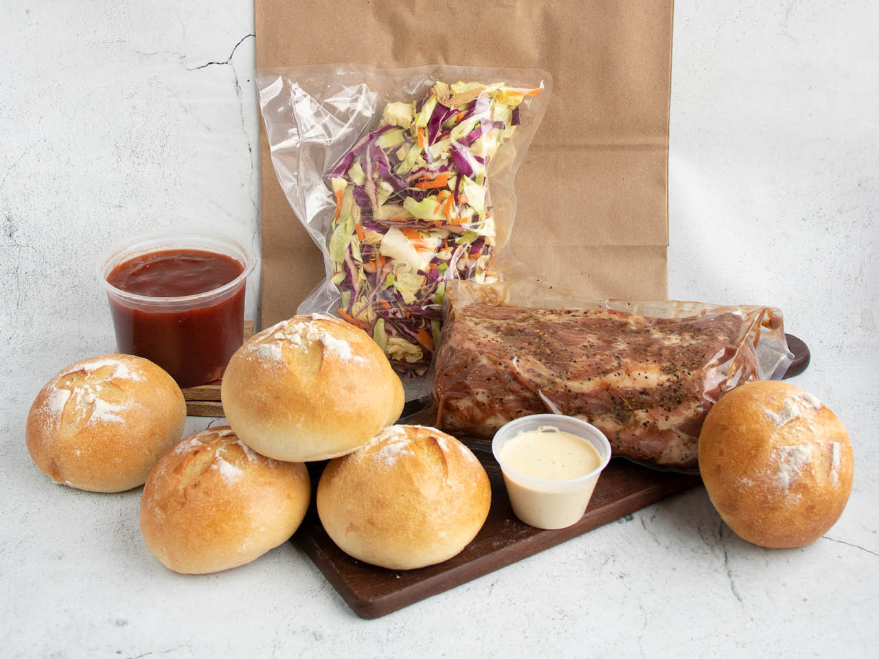 Summer Meal Kit Pulled Pork on a Bun Uncooked